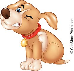 Vector illustration of Cartoon dog scratching an itch on white background