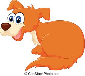 Cartoon dog sitting illustration