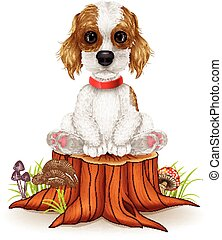 Cartoon dog sitting on tree stump - Vector illustration of...