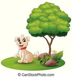 Cartoon dog sitting under a tree on a white background