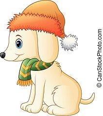 Cartoon dog wearing a scarf and Santa hat