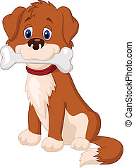 Cartoon Dog with bone - Vector illustration of Cartoon Dog...