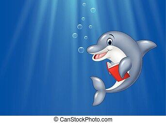 Cartoon dolphin reading book - Vector illustration of...