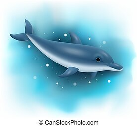 Cartoon dolphin swimming in the ocean