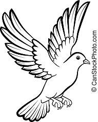 Cartoon Dove birds logo for peace c