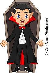 Cartoon dracula in the coffin