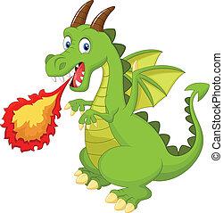 Cartoon dragon with fire