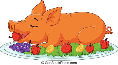 Cartoon drilled suckling pig on a p - Vector illustration of...