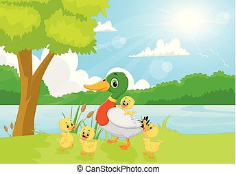 Cartoon duck family on the riverbank