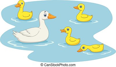 Cartoon duck family swimming in the pond