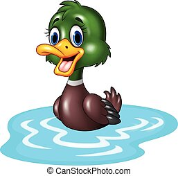 Cartoon duck floats on water - Vector illustration of...