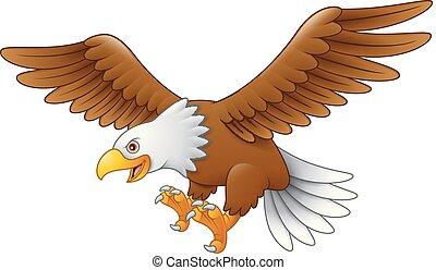 Cartoon eagle flying
