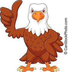 Cartoon eagle giving thumb up