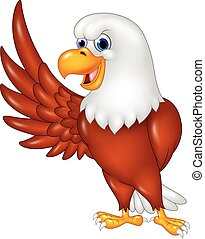Cartoon eagle waving isolated