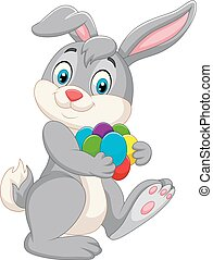 Cartoon Easter bunny carrying colorful eggs