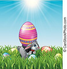 Cartoon Easter bunny carrying Easter eggs
