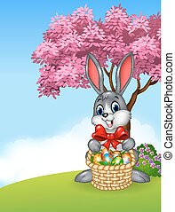 Cartoon easter bunny holding Easter