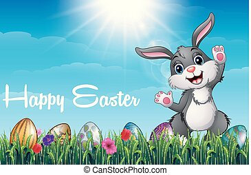 Cartoon Easter bunny with colored decorated eggs in the grass field