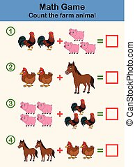 Cartoon educational mathematical game for children with farm animal characters