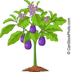 Cartoon Eggplants isolated on white background
