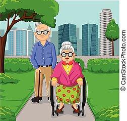 Cartoon elderly couple in the park