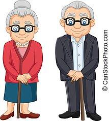 Cartoon elderly couple isolated on white background