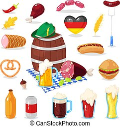 cartoon elements of Oktoberfest beer festival