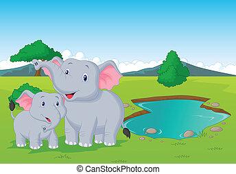 Cartoon elephant family near wateri