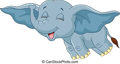 Cartoon elephant flying with his ea - Vector illustration of...