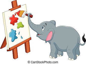 Cartoon elephant painting