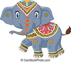 Cartoon indian elephant. Indian elephant with colorful ...
