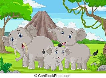 Cartoon elephants family in the jungle