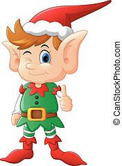 cartoon elf giving thumb up