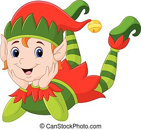 Cartoon elf laying on the floor - Vector illustration of...