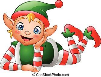Cartoon elf lying on the floor - Vector illustration of...