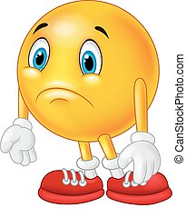 Cartoon emoticon sad - Vector illustration of Cartoon...