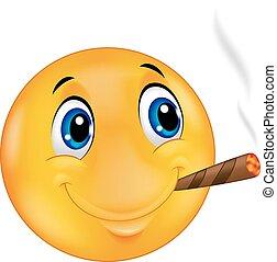 Cartoon Emoticon smiley smoking cig - Vector illustration of...