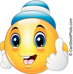 Cartoon emoticon smiley wearing a cap and giving a thumbs up