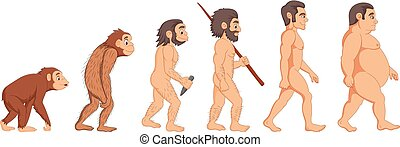 Vector illustration of Cartoon evolution of man