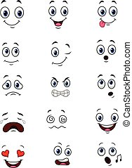 Cartoon faces expressions collection set