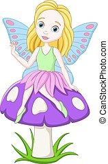 Cartoon fairy sitting on a mushroom