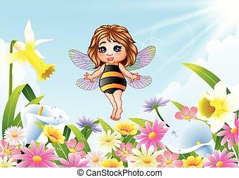 Cartoon fairy sitting on flower field