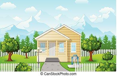 Cartoon family house on mountain against the blue sky background