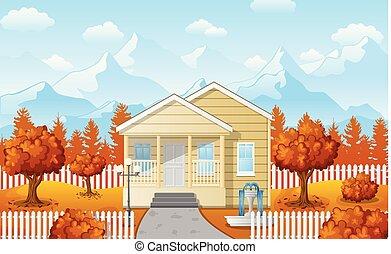 Cartoon family house with mountain in fall season