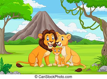 Cartoon family lion in the jungle