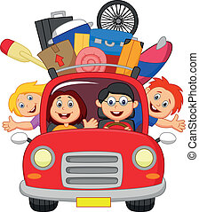 Cartoon Family traveling with car - Vector illustration of...