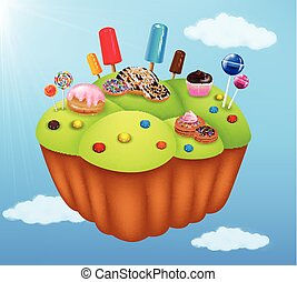 Cartoon fantasy sweet food land