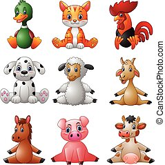 Cartoon farm animal collection set - Vector illustration of...