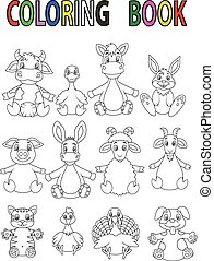 Cartoon Farm animal coloring book