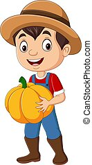 Cartoon farmer boy holding pumpkin